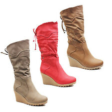 WOMENS LADIES FOLD OVER FAUX FUR CUFF WEDGE HEEL MID CALF BOOTS SHOES SIZE 3-8