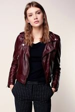 Burgundy Leather Jacket Women Quilted New Biker Motorcycle Size XS S M L XL XXL