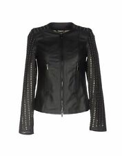 New Women Black Studded Leather Jacket Biker Motorcycle Size XS S M L XL XXL