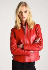 Red Leather Jacket Women Quilted New Biker Motorcycle Size XS S M L XL XXL