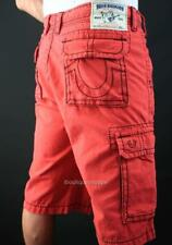 TRUE RELIGION Men's Black BIG T CARGO Shorts RUBY RED Jeans NWT