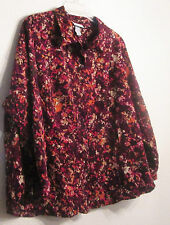 Brown Multicolor Button Blouse Top Size 1X 2X 3X or 5X Shirt Catherines NWT