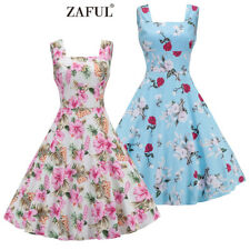 Women 1950s Vintage Non-positioning Floral Rockabilly Cocktail Party Swing Dress