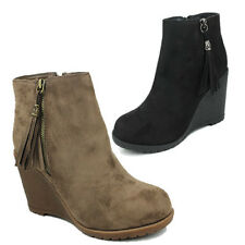 NEW WOMENS LADIES MID HIGH WEDGE HEEL TASSEL CASUAL ANKLE BOOTS SHOES SIZE 3-8
