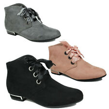 WOMENS LADIES FLAT CHELSEA LACE UP RIBBON CASUAL ANKLE BOOTS BOOTIES SIZE 3-8