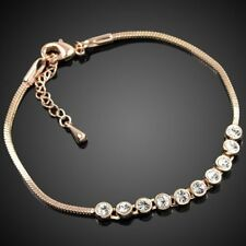 Austria crystal diamond Bracelet bridal engagement Gem Bangle 18K Rose Gold GP