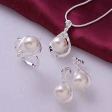 New Fashion 925 Silver Crystal Pearls Ring Earrings Necklace Jewelry Sets