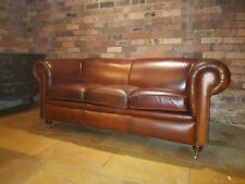 VICTORIAN STYLE VINTAGE DISTRESSED CIGAR BROWN LEATHER 3 SEATER SOFA