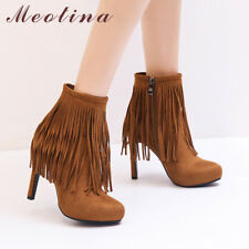 Woman Tassel Ankle Boots Sexy Fringe Platform Slim High Heels Shoes