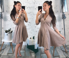 Fashion Women Zippers Dresses Solid Pleated V-neck Sexy Evening Party Bodycon