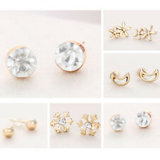 Wholesale Lot 6 Pairs Mixed Gold Plating Color Crystal Ear Stud Earrings