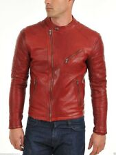 Jacket Leather Motorcycle Mens Red Real Lambskin New Biker Coat Vintage MJ846
