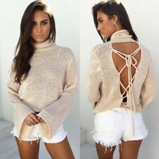 HOT Women Casual Lace Up Knitted Pullover Loose Sweater Jumper Knitwear LOT N
