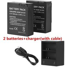 2x AHDBT 301/201 Replacement Battery For GoPro HD Hero3 AC/DC Charger 1600 Mah y