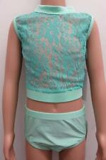 Dance Costume NEW Small Adult/Large Child Lace Peach Blue 2PC Modern Competition