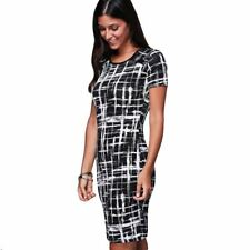 Summer Short Sleeve Print Women O-neck Slim Fit Sheath Knee-Length Dress