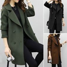 Women Fashion double breasted long trench coat jacket wool overcoat Parka BS