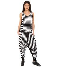 adidas Y-3 by Yohji Yamamoto Women's Harem Jumpsuit Black White Striped COTTON~M