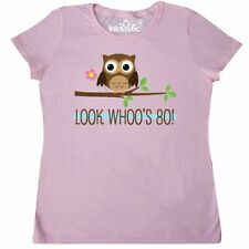 Inktastic 80th Birthday Look Whoos 80 Owl Women's T-Shirt Year Old Happy Whos