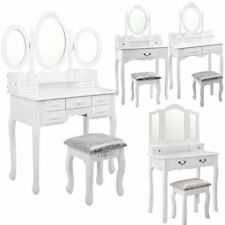 Luxury Wooden Dressing Table & Stool Mirror Jewellery Cabinet Drawers Organizer