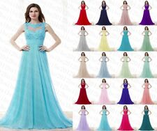 New Style Long Lace Chiffon Party Gown Prom Evening Bridesmaid Dress Size 6-18