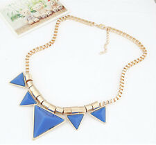 Punk Triangle Pendant Short Necklace Gold Plated Chunky Choker For Women