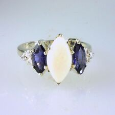 Natural Marquise Opal, Iolite and White Topaz Ring 925 SS Sterling Silver