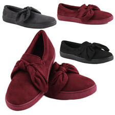 WOMENS LADIES SLIP ON FLAT BOW KNOT PUMPS PLIMSOLLS TRAINERS SHOES SIZE 3-8