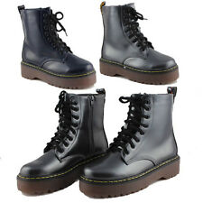 WOMENS LADIES LACE UP CHUNKY SOLE PUNK BIKER COMBAT ANKLE BOOTS SHOES SIZE 3-8