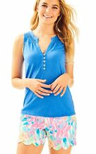 NEW Lilly Pulitzer SLEEVELESS ESSIE Smocked Knit TOP Lapis Blue XL Extra Large