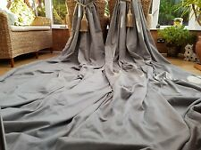 "HUGE  PAIR GREY BESPOKE  BLACK OUT LINED CURTAINS 87"" DROP BY 74"" WIDTH"