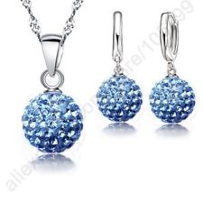 Jewelry Sets 925 Sterling Silver Austrian Crystal Pave Disco Ball Lever Earring