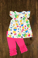Girl's Boutique Outfit Set Easter Egg Chick Tunic Leggings Spring Summer Clothes