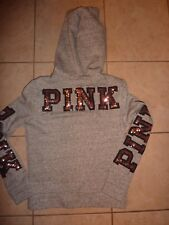 """VICTORIAS SECRET PINK """"PINK"""" LIMITED EDITION BLING SEQUIN DOG HOODIE NWT"""