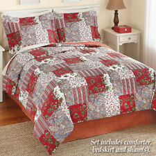 💗 ALL SIZES Reversible Floral Quilted Mariana Comforter Sham Bedding Bedskirt