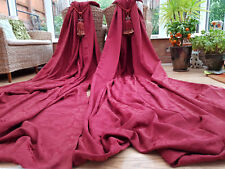 "HUGE  PAIR RED  BROCADE LINED  CURTAINS   78"" DROP  BY 88"" WIDTH"