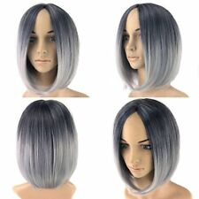 Women's Short Straight Black& grey Synthetic Hair Heat Resistant Cosplay Wig ST