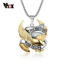 Vnox Eagle Necklace Pendant for Men Stainless Steel Metal LIVE TO RIDE Punk...