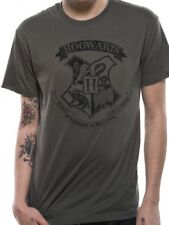 Harry Potter Distressed Hogwarts Crest Official Unisex Grey T-Shirt Womens Mens