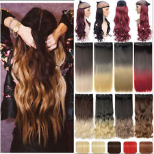 Lady Clip In Ombre Natural Hair Extensions Clip On One Piece Black Long Straight