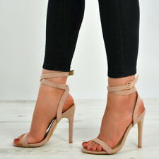 Womens Ladies Ankle Strap Buckle High Stiletto Heels Peep Toe Sandals Shoes Size