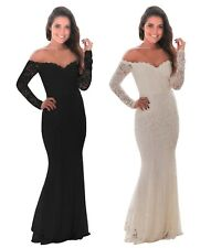 New white crochet off shoulder maxi evening party dress