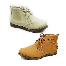 WOMENS LADIES CHELSEA STYLE LACE UP LOW BLOCK HEEL ANKLE BOOTS SHOES SIZE 3-8