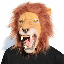 Novelty Halloween Costume Party Animal Head Mask King Lion Roomy Enough Latex
