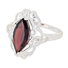 Sterling Silver 2.50ct Natural Marquise Garnet Filigree Ring (Sizes 6 to 10)