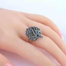 Vintage Punk Unique Carved Antique Silver Hedgehog Lucky Ring.