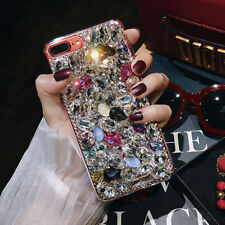 Lady Rhinestone Diamond Bling Crystal 3D Hard Back Case Cover For iPhone Samsung