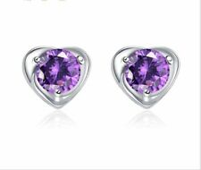 925 Sterling Silver Purple Amethyst /Crystal GemStone Heart Stud Earrings Earing