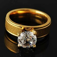 Womens Clean Crystal 14K gold filled Scrub Promise Band Ring Size 6-9 Jewelry