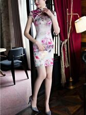 pink Chinese Style Evening silk/satin short sleeves Dress/mini Cheong-sam